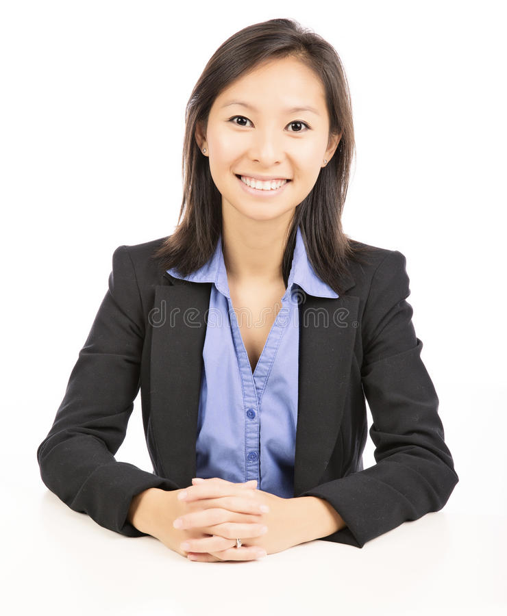 femme d'affaires s'asseyant au bureau photos stock