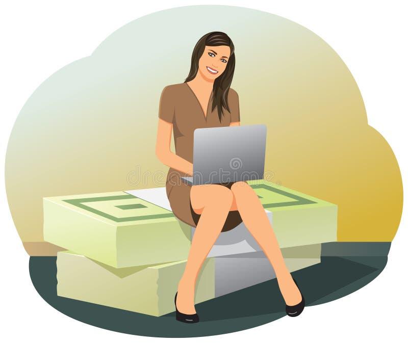 Femme d'affaires s'asseyant sur des piles d'argent illustration libre de droits