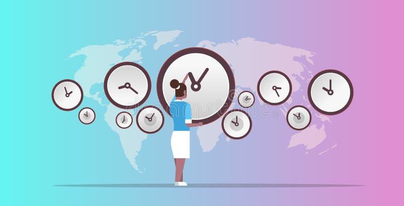Femme d'affaires se dirigeant sur le mur avec des affaires ameriscan de villes d'horloges de gestion du temps de date-butoir d'Af illustration de vecteur