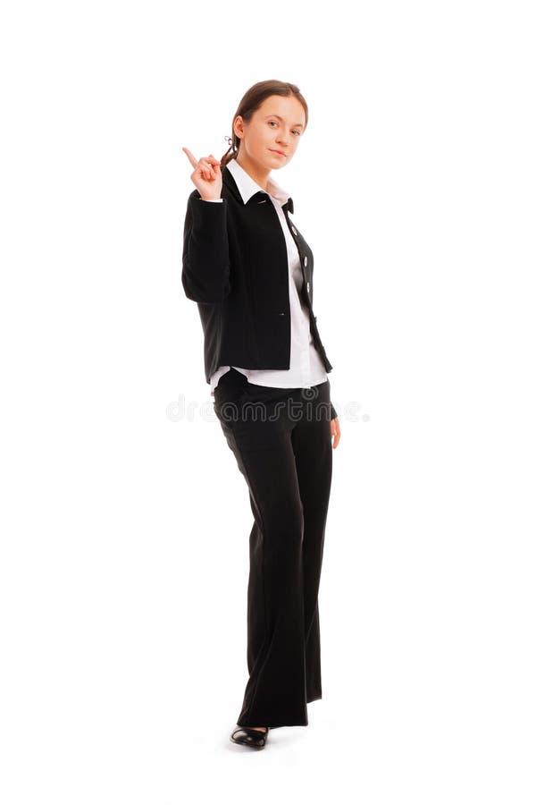 Femme d'affaires se dirigeant vers le haut au copyspace photographie stock libre de droits