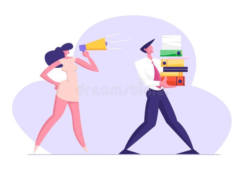 Femme d'affaires Shouting dans le mégaphone sur l'employé de bureau portant la pile énorme des dossiers de documentation illustration stock