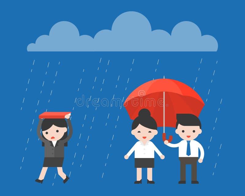 Femme d'affaires simple marchant sous la pluie, tandis qu'homme d'affaires h illustration de vecteur