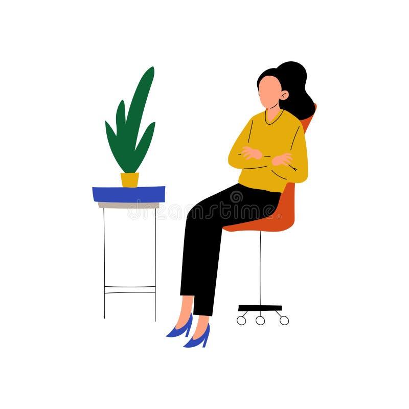 Femme d'affaires Sitting dans la chaise avec les mains pliées, fonctionnement professionnel de jeune femme dans l'illustration de illustration libre de droits