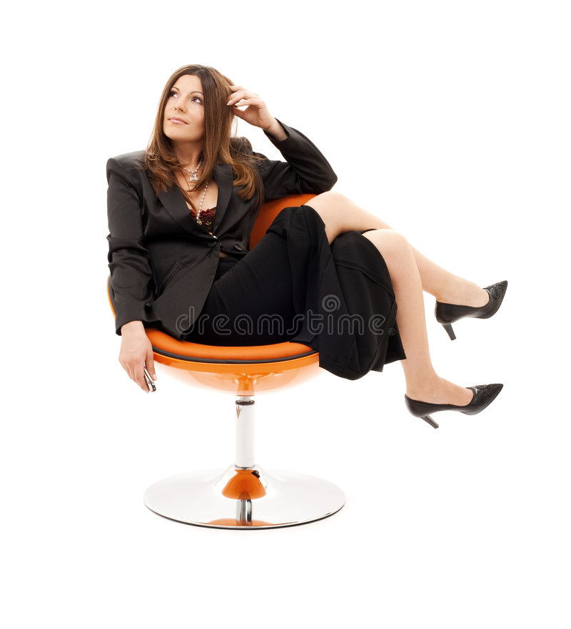 Femme d'affaires songeuse photographie stock