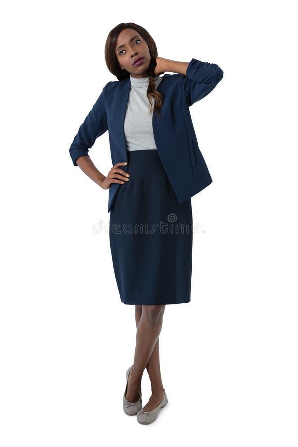 Femme d'affaires souffrant de la douleur cervicale photographie stock