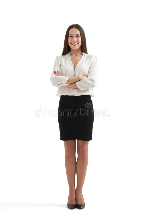 femme d 39 affaires souriante dans le tenue de soir e image stock image du jupe formel 56960077. Black Bedroom Furniture Sets. Home Design Ideas