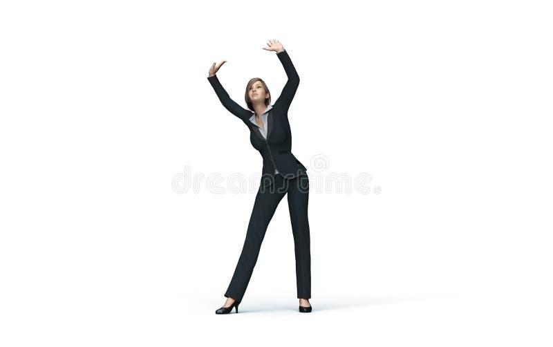 Femme d'affaires sous le plafond en verre virtuel illustration de vecteur
