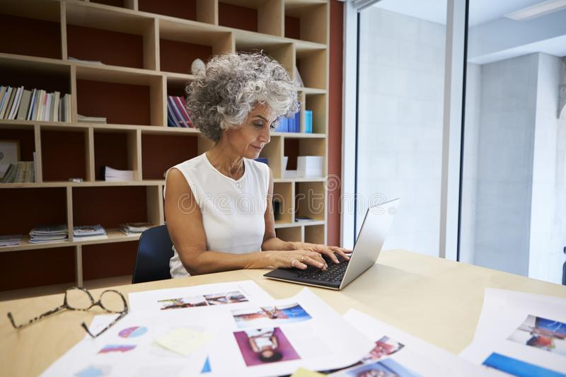 Femme d'affaires supérieure travaillant sur l'ordinateur portable dans le bureau photos stock