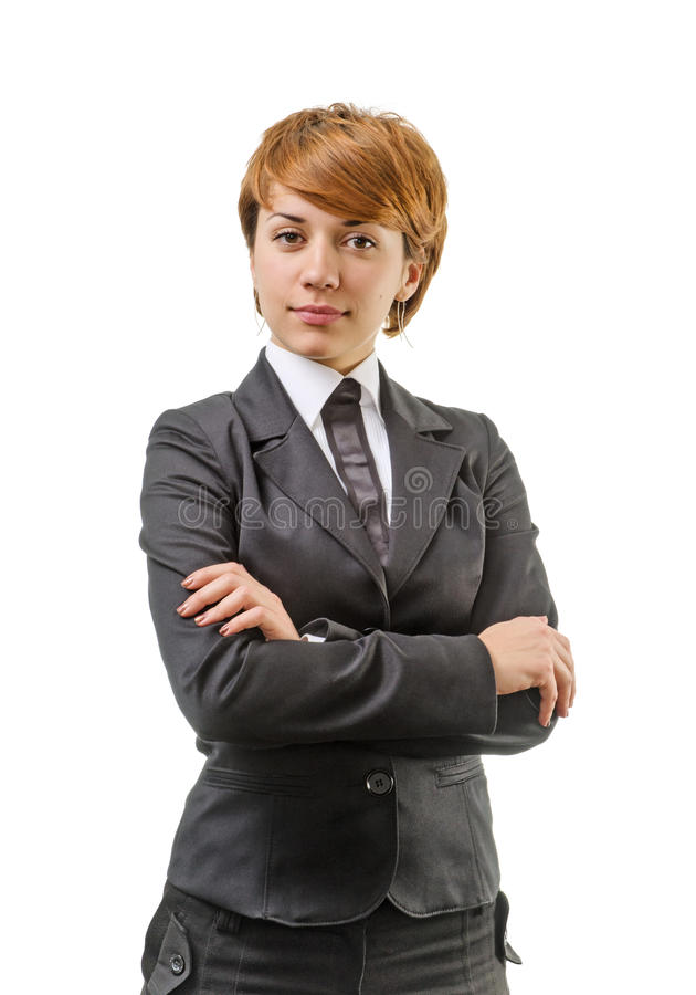 Femme d'affaires sur un blanc image stock