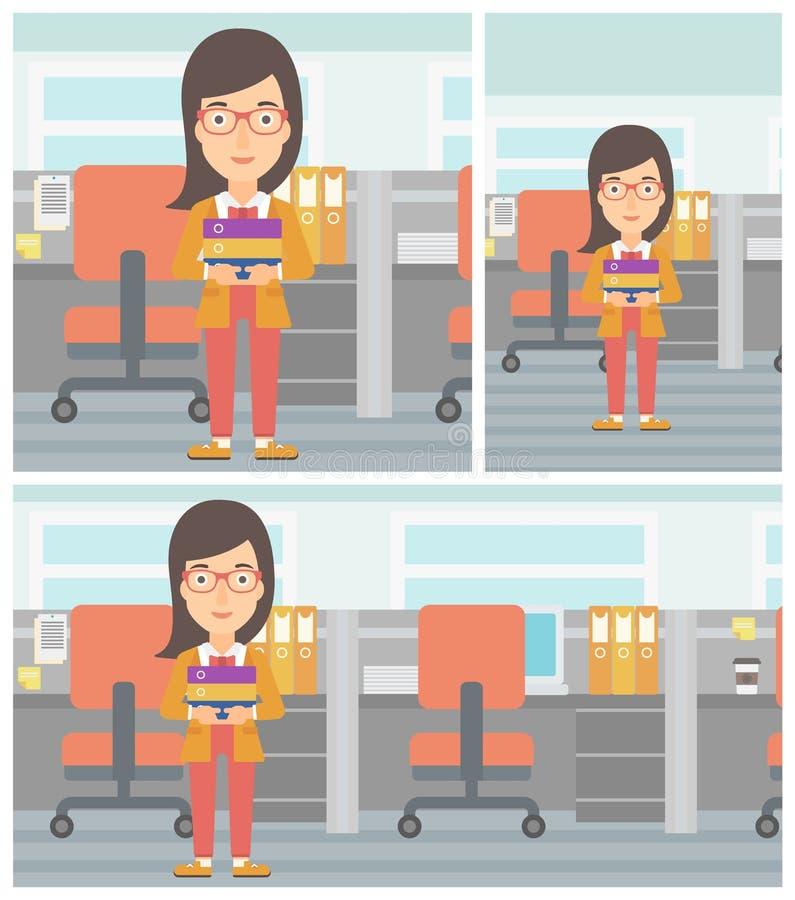 Femme d'affaires tenant la pile des dossiers illustration stock