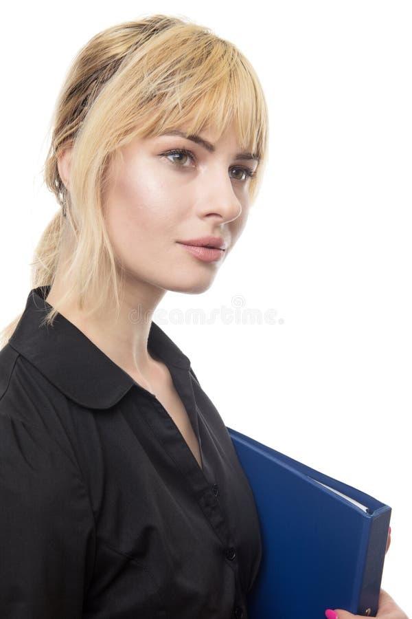 Femme d'affaires tenant le dossier photo stock