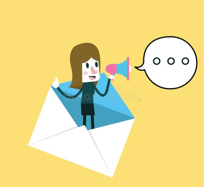 Femme d'affaires tenant le mégaphone pour des promotions d'email illustration libre de droits