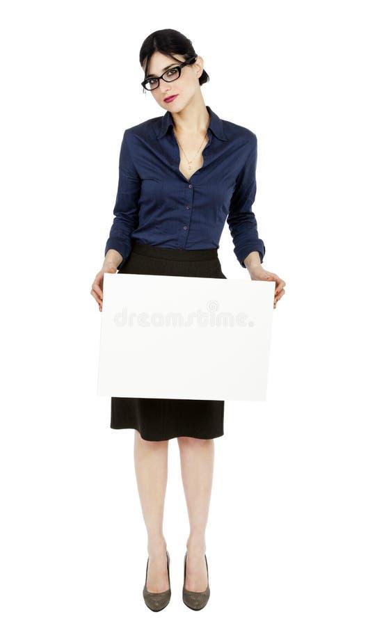 Femme d'affaires tenant le signe images stock