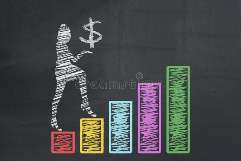 Femme d'affaires tenant le SYMBOLE de DOLLAR US et montant en main les colonnes dessinées de diagramme de diagramme de graphiques illustration libre de droits