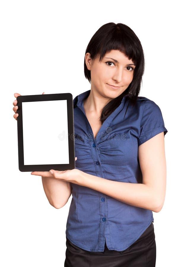 Femme d'affaires tenant un comprimé image stock