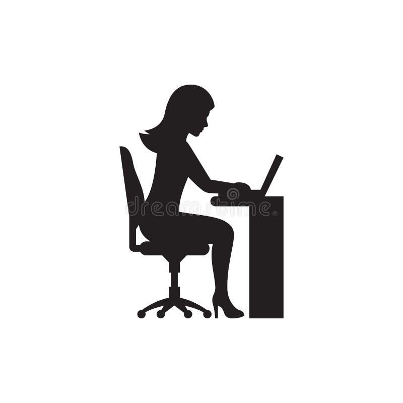 Femme d'affaires travaillant à la silhouette d'ordinateur portable illustration stock