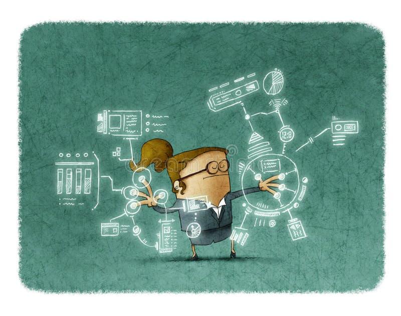 Femme d'affaires travaillant avec de futures technologies illustration stock