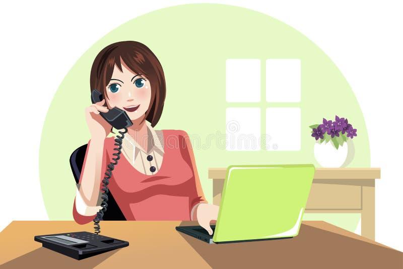 Femme d'affaires travaillant dans le bureau illustration de vecteur