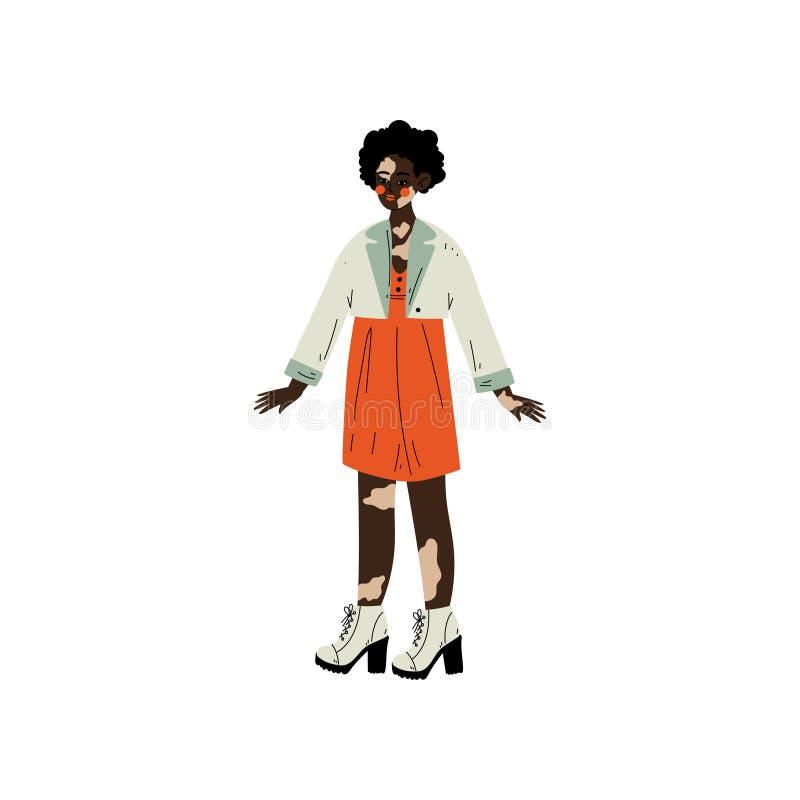 Femme d'afro-américain avec le Vitiligo, personnage féminin aimant son corps, acceptation d'individu, diversité de beauté, positi illustration libre de droits