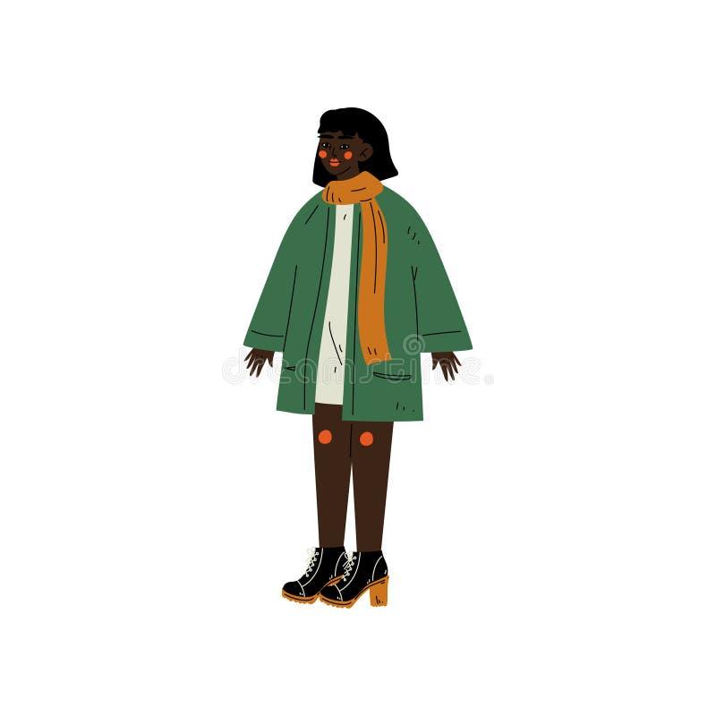 Femme d'afro-américain portant les vêtements sport, personnage féminin aimant son corps, acceptation d'individu, diversité de bea illustration de vecteur