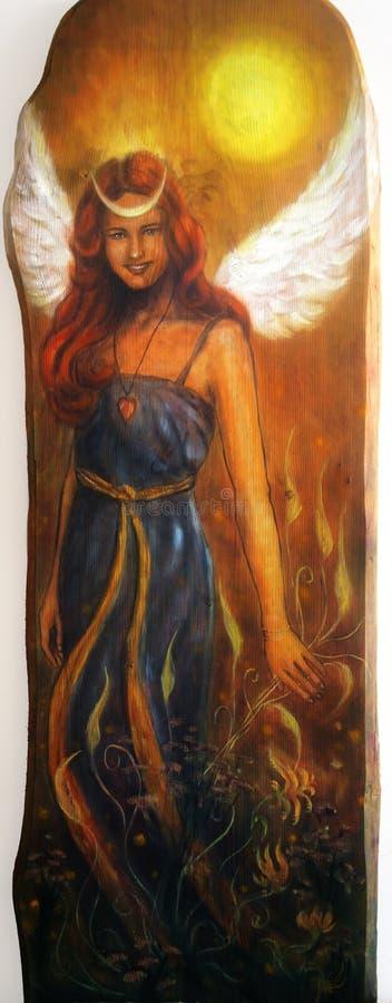 Femme d'ange avec des ailes blanches et une robe bleue, belle peinture colorée, d'isolement sur le fond blanc, avec le chemin de  illustration de vecteur