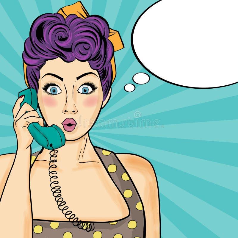 Femme d'art de bruit causant au rétro téléphone Femme comique avec la parole illustration de vecteur