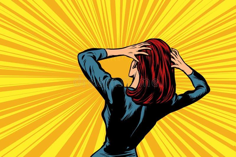 Femme d'art de bruit dans la panique illustration libre de droits