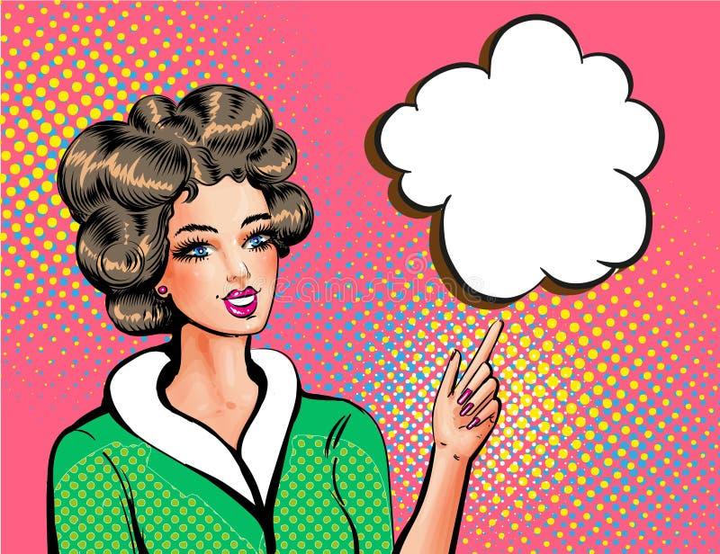 Femme d'art de bruit de vecteur belle dirigeant le doigt illustration de vecteur