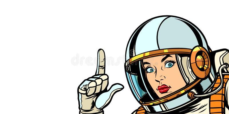 Femme d'astronaute dirigeant le doigt, isolat sur le fond blanc illustration libre de droits