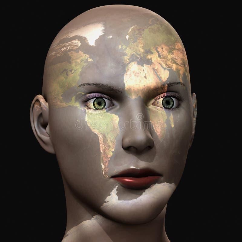 femme 3d avec la carte du monde sur son visage illustration de vecteur