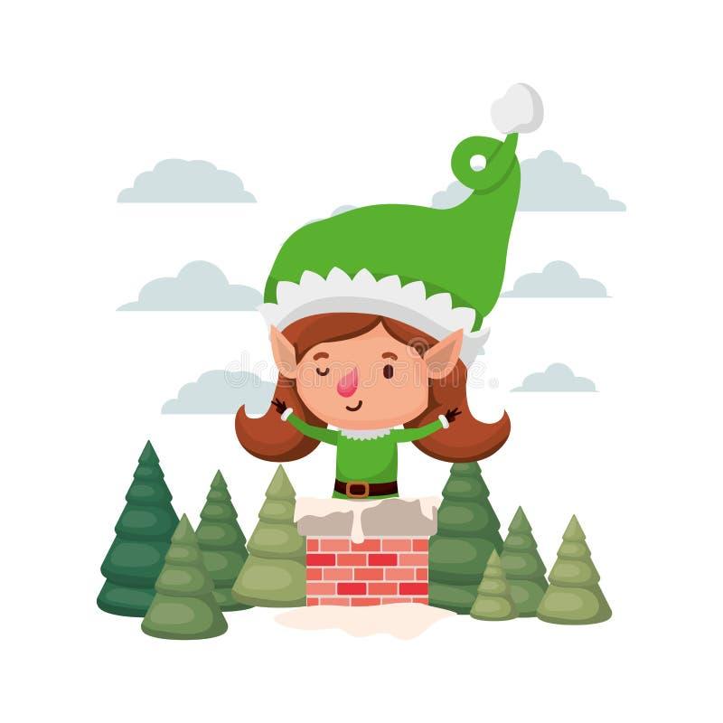 Femme d'Elf avec des arbres de cheminée et de Noël illustration stock