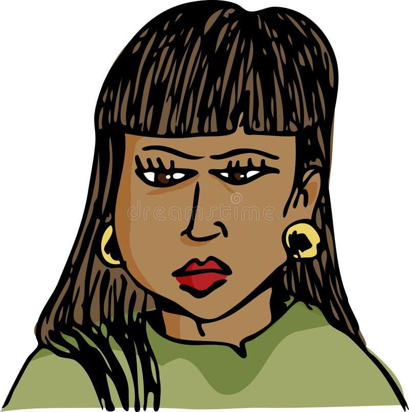 Femme d'hispanique de Frowing illustration libre de droits