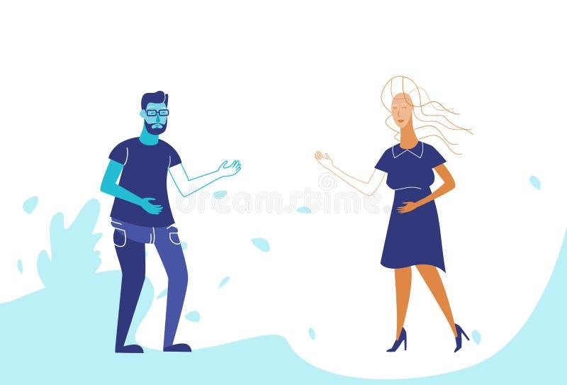 Femme d'homme de couples tenant ensemble le personnage de dessin animé hommes-femmes de concept de communication d'hommes d'affai illustration stock
