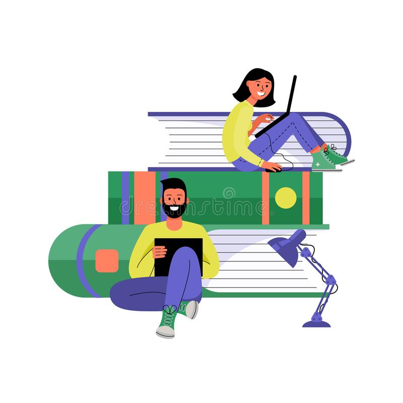 femme d'homme d'ordinateurs portatifs Formation en ligne et concept travaillant en indépendant Illustration de vecteur illustration de vecteur