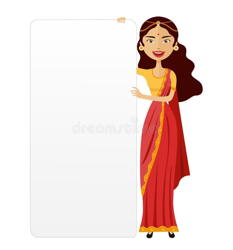 Femme d'Inde avec une illustration plate de vecteur de bande dessinée de présentation de conseil illustration stock