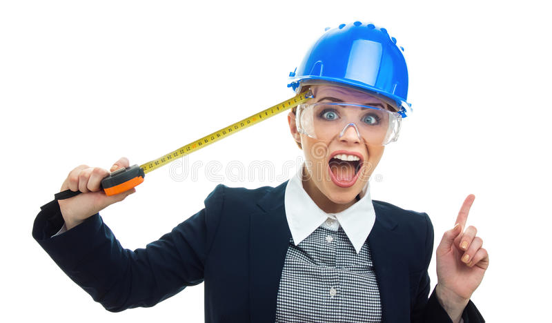 Femme d'ingénieur au-dessus du fond blanc photos stock