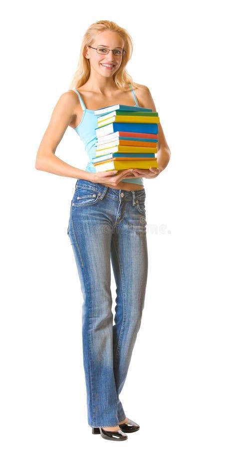 Femme d'isolement avec des livres photographie stock libre de droits