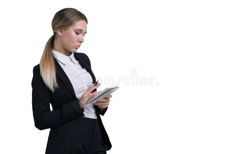 femme d'isolement de cahier photo libre de droits