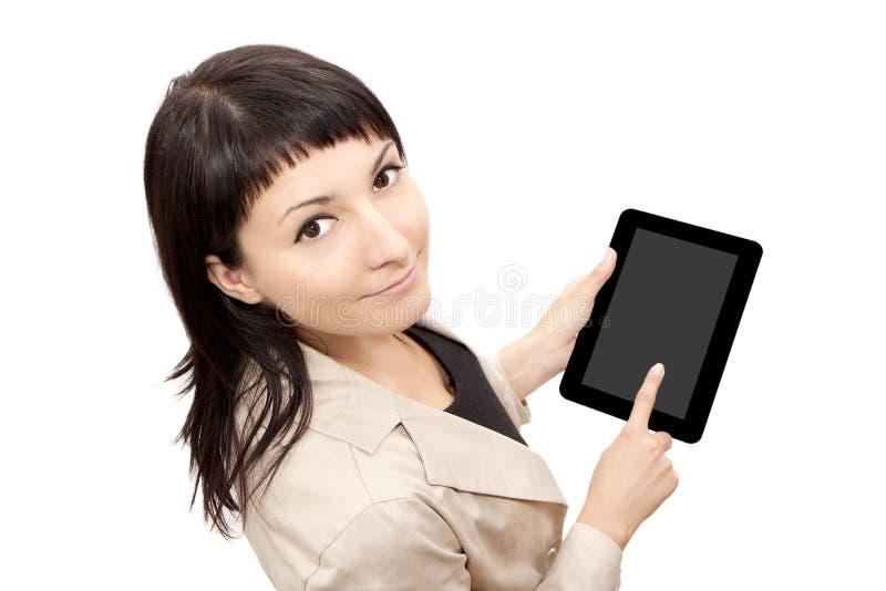 Femme d'ordinateur de tablette image stock