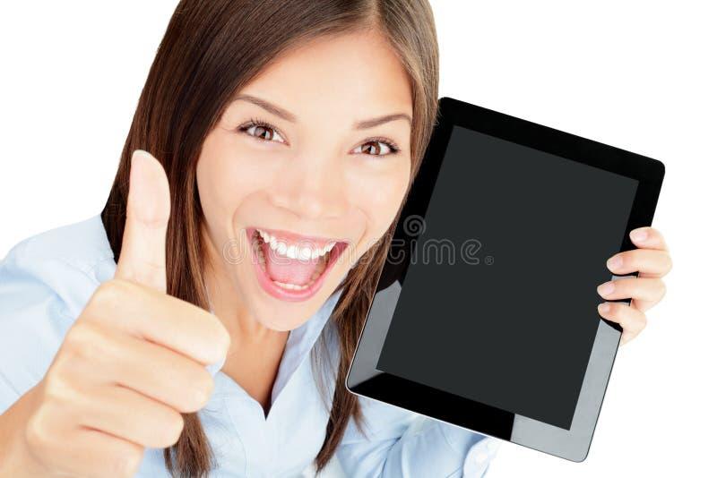 Femme d'ordinateur de tablette heureuse images libres de droits