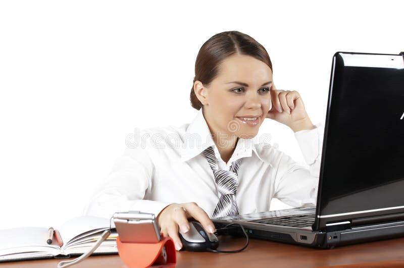 Femme avec l'ordinateur portable photo stock