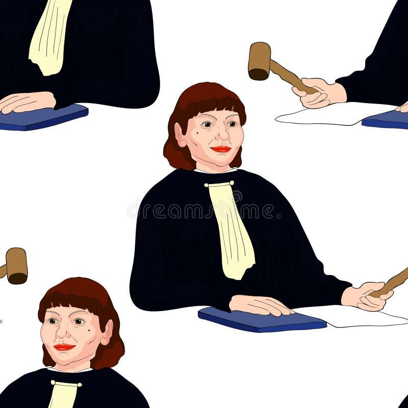 Femme d'une cinquantaine d'années de modèle de profession sans couture de juge avec h brun illustration de vecteur