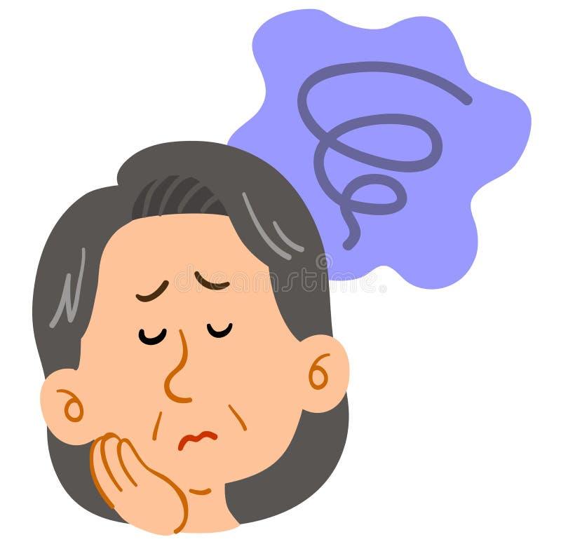 Femme d'une cinquantaine d'années inquiétée, soucieux, mélancolique illustration libre de droits