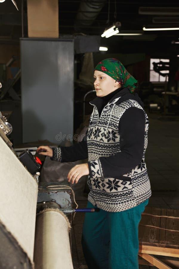 Femme d'une cinquantaine d'années au sideview de travail image stock