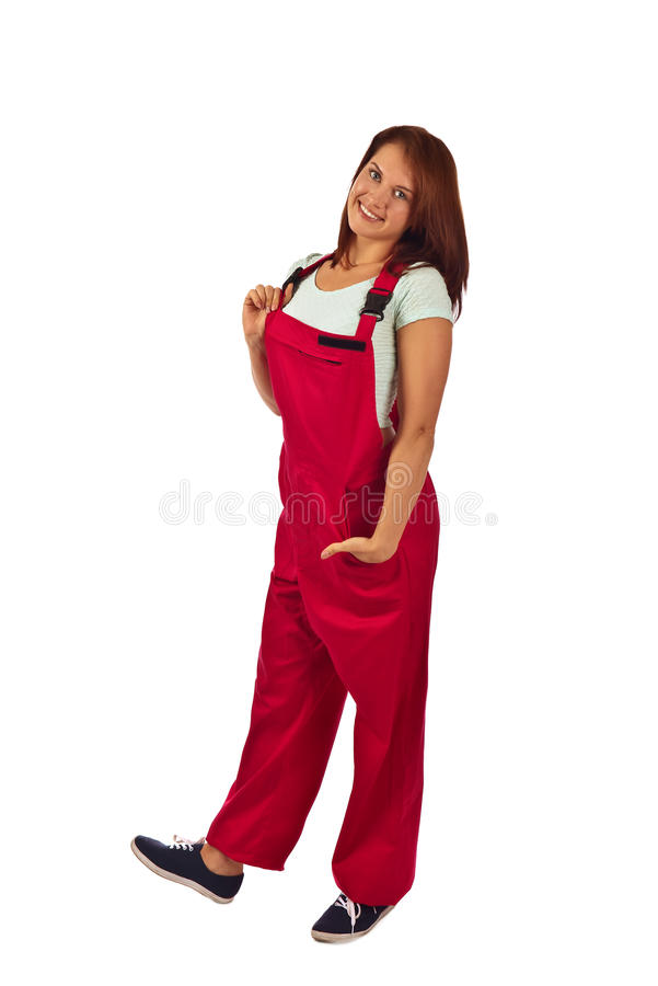 Download Femme Dans Des Combinaisons Rouges, D'isolement Sur Le Blanc Photo stock - Image du bonheur, caucasien: 76083966