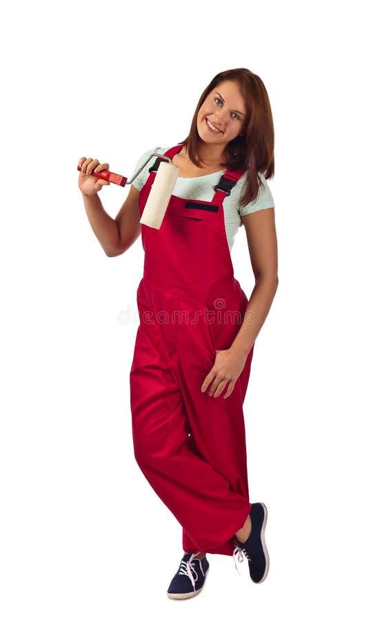 Download Femme Dans Des Combinaisons Rouges, D'isolement Sur Le Blanc Image stock - Image du people, femelle: 76084027