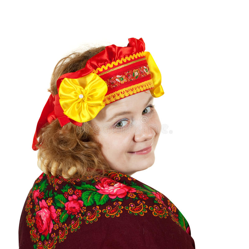 Femme dans des vêtements traditionnels russes photos stock
