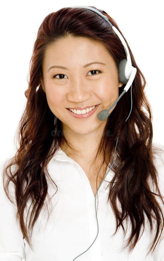 Femme Dans L écouteur Photographie stock