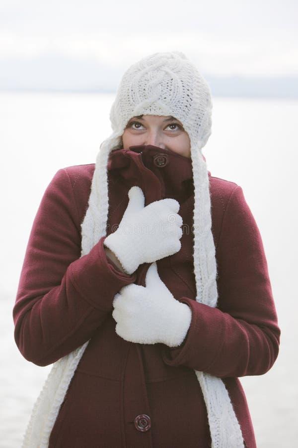 Femme dans l'équipement de l'hiver avec le capuchon photos libres de droits