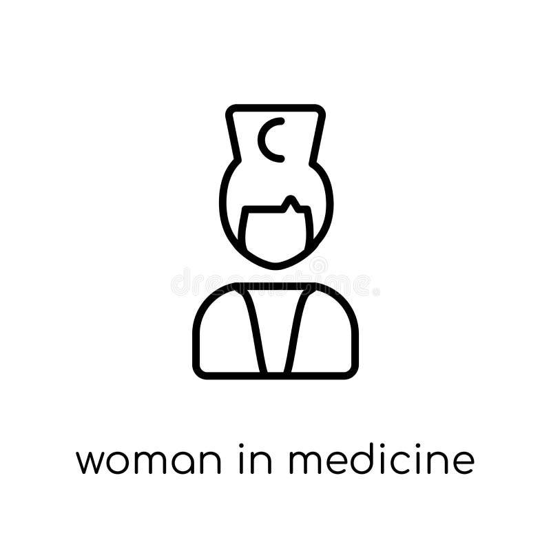Femme dans l'icône de médecine Femme linéaire plate moderne à la mode de vecteur I illustration libre de droits